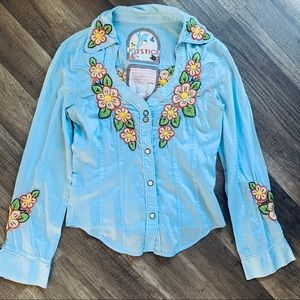 Johnny Was Joy Stick EUC Embroidered Shirt Size M